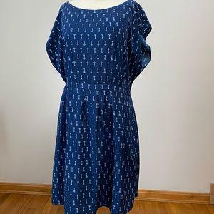 Old Navy XL navy blue key pattern dress